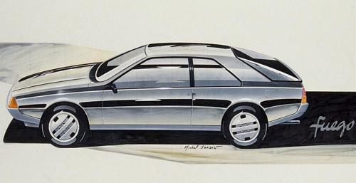 Un dibujo del Renault Fuego realizado por su creador, Michel Jardin.