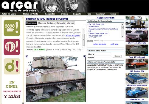 Aviso Arcar venta de tanque de guerra