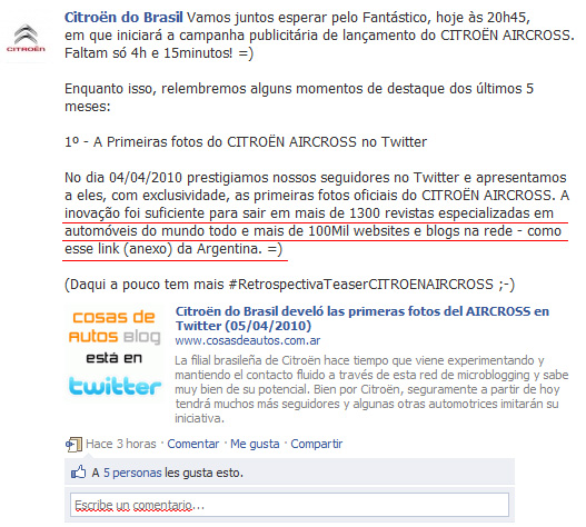 Facebook de Citroen do Brasil
