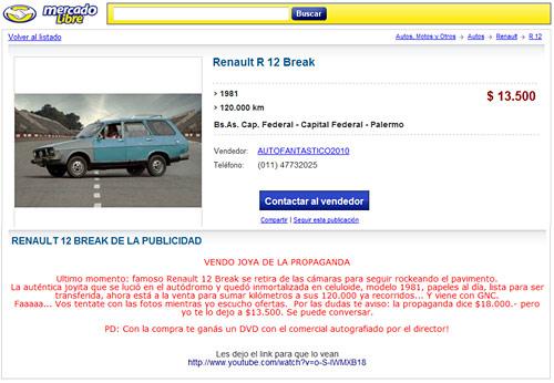 Aviso Mercado Libre venta de Renault 12 Break