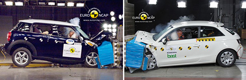 Audi A1 versus MINI Countryman en los test de Euro NCAP
