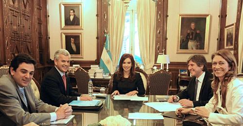 Sergio Rocha, Cristina Fernández, Amado Boudou y Débora Giorgi.