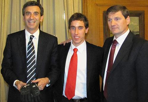El Ministro del Interior Florencio Randazzo junto a Esteban Guerrieri.