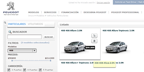 Peugeot 408 en el sitio de la marca