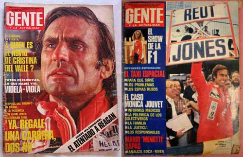 Las tapas de la revista Gente que reflejaron el incidente Jones-Reutemann.