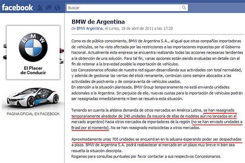 Comunicado de BMW Argentina en Facebook.