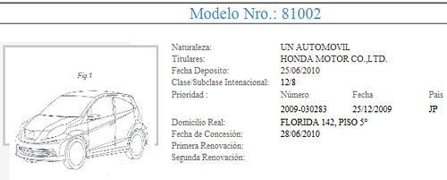 Primer registro del Honda Brio en el INPI.