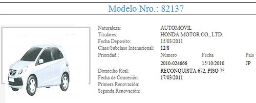 Segundo registro del Honda Brio en el INPI.