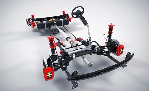 Esqueleto de un auto de la MINI Challenge.
