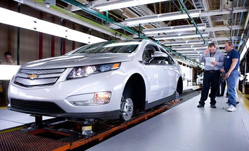 Línea de producción del Chevrolet Volt en Michigan.