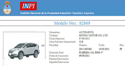 Honda registró la nueva CR-V en el INPI
