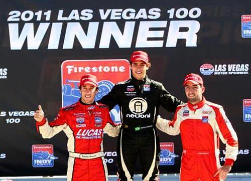 El podio de la Indy Lights en Las Vegas 2011: Guerrieri, a la izquierda.