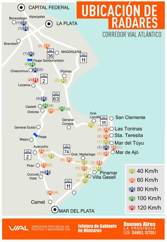 Mapa oficial de radares a la Costa Atlántica 2012