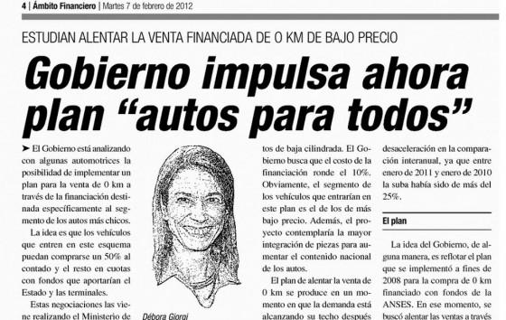 Nota del diario Ambito Financiero del 7 de febrero de 2012.