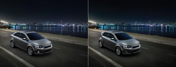 Las dos siluetas del Chevrolet Sonic.