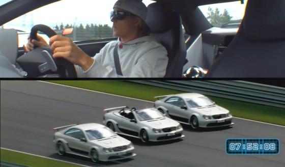 """Kimi Raikkonen en la línea de llegada de su """"carrera"""" contra Dotcom y un amigo."""