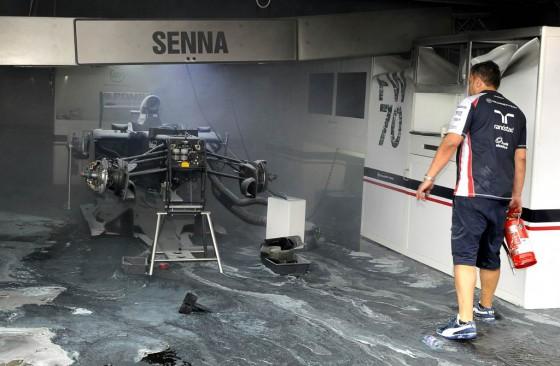 Así quedó el box de Williams en el GP de España tras el incendio.