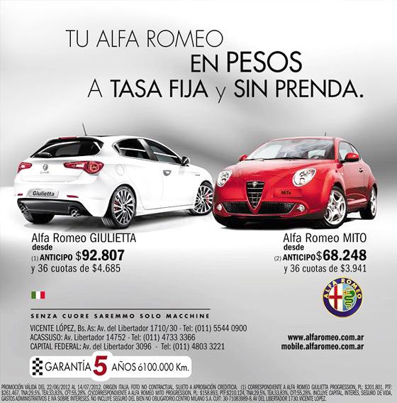 Alfa Romeo pesificó su lista de precios