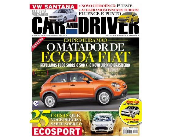 El Fiat 500X en la tapa de Car and Driver de Brasil en agosto de 2012.