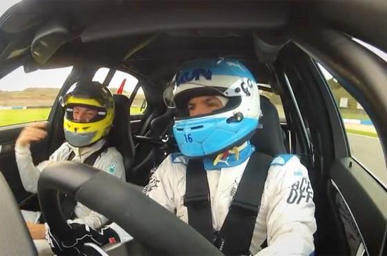 El Kun Agüero se animó a desafiar al volante a Nico Rosberg en Donington