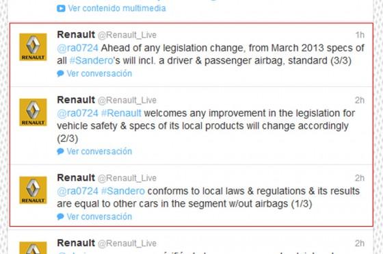 Renault Francia justificó en Twitter el pobre resultado del Sandero en el test de LatinNCAP