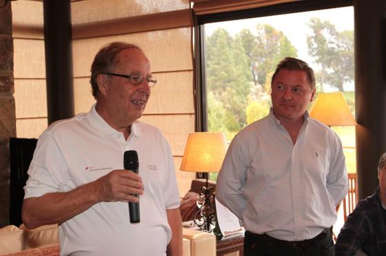 Hannu Mikkola junto a Conrado Wittstatt, Gerente General de Audi Argentina, en Bariloche.