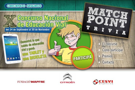 Seguridad Vial: Citroën lanzó Match Point Trivia, un concurso on line destinado a chicos