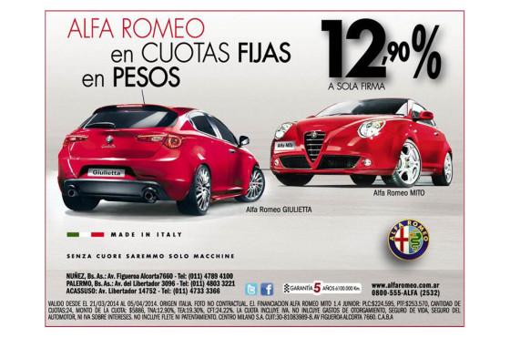 Alfa Romeo y nueva financiación en pesos a sola firma