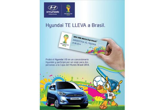 Hyundai invita a probar el i10 y premia con un viaje al Mundial de Brasil