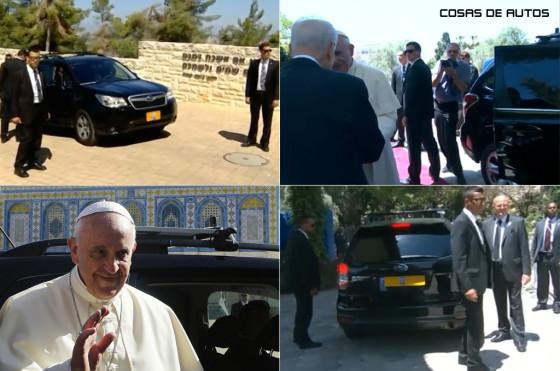 Papa Francisco en una Subaru Forester en Israel