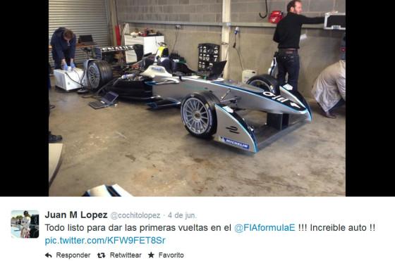 Cochito López probó el Fórmula E y lo compartió en su cuenta de Twitter