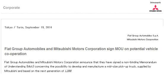 Fiat y Mitsubishi anuncian firma de MOU
