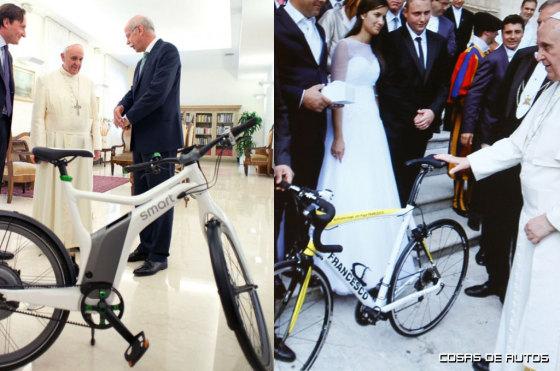 El Papa Francisco rifa bicicletas que le regalaron