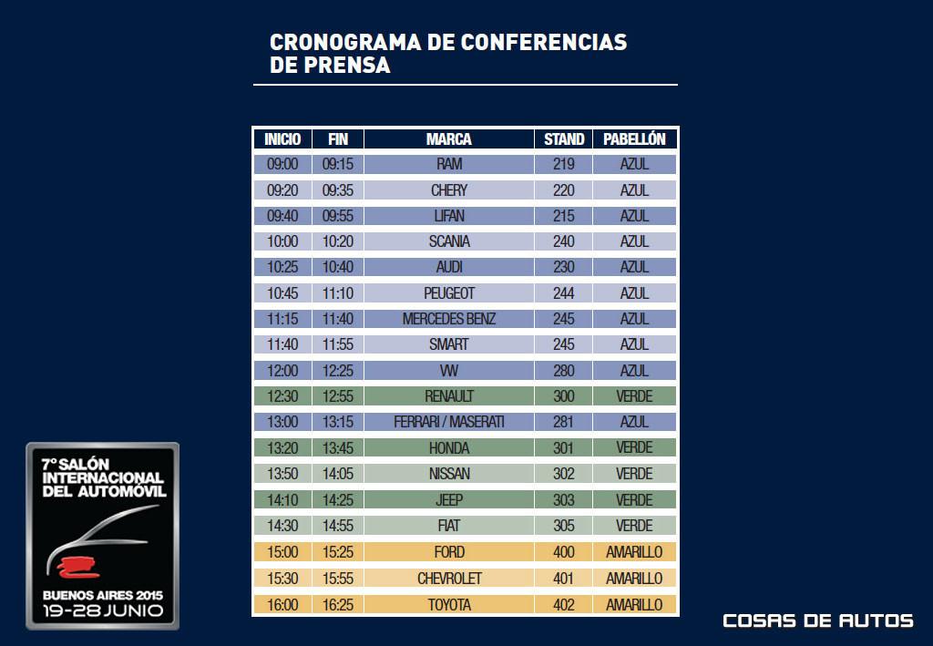 Cronograma de la jornada de prensa del Salón de Buenos Aires 2015