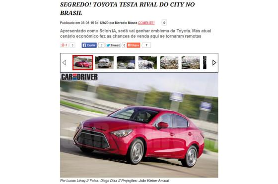 El Scion iA ya se prueba en Brasil