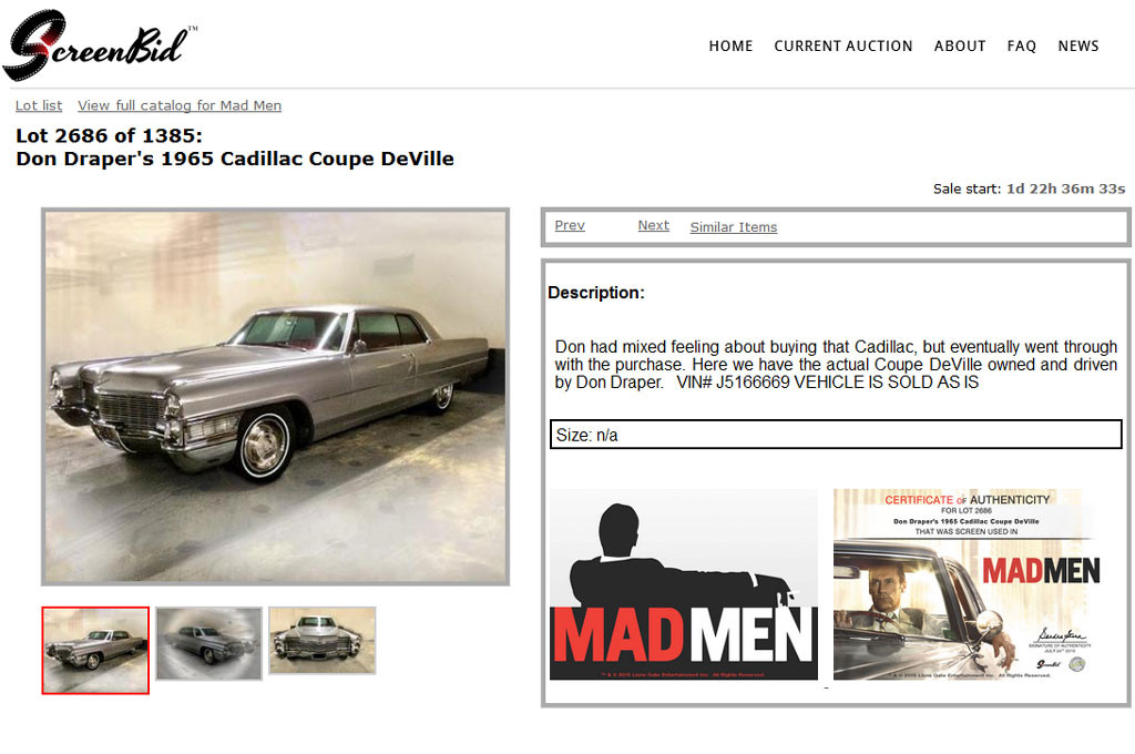 Mad Men - Sale a subasta el Cadillac de Don Draper