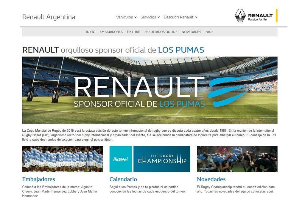 Renault es por cuarto año consecutivo sponsor de Los Pumas