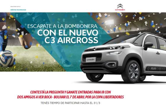 Concurso de Citroen para escaparse a la Bombonera con el Nuevo C3 Aircross