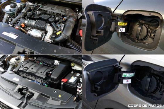 Las dos motorizaciones que probamos: arriba el HDI Allure MT5, abajo el VTi Allure Plus AT6
