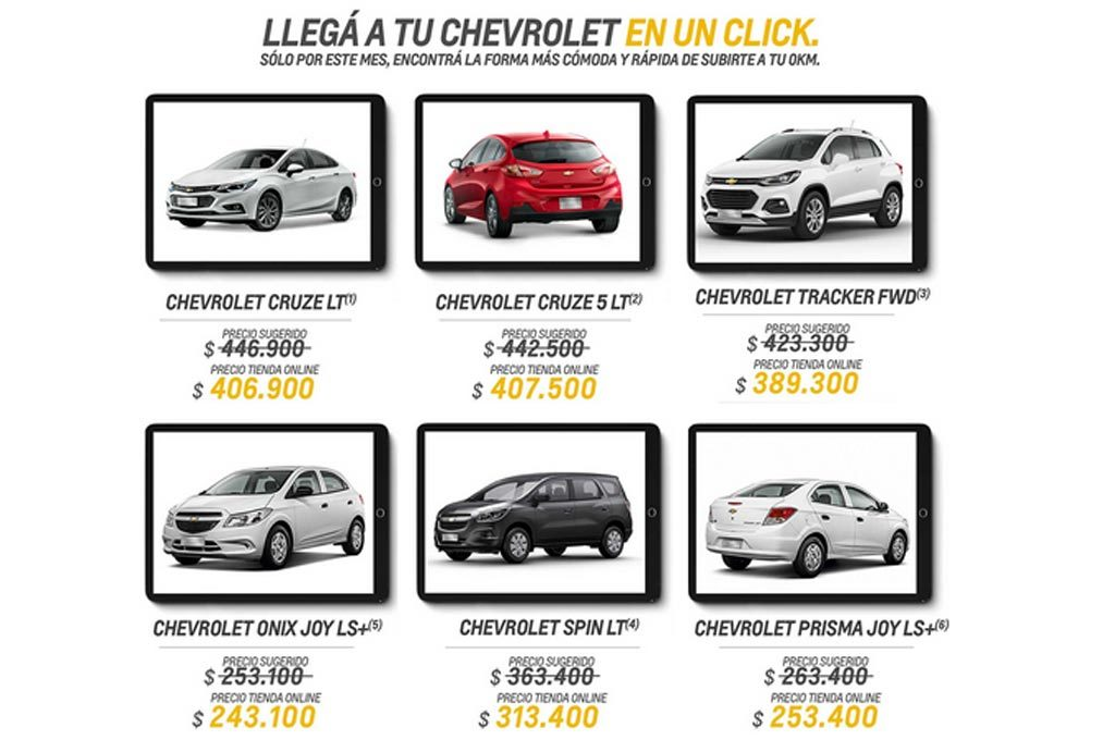 Descuentos de la Tienda Online Chevrolet