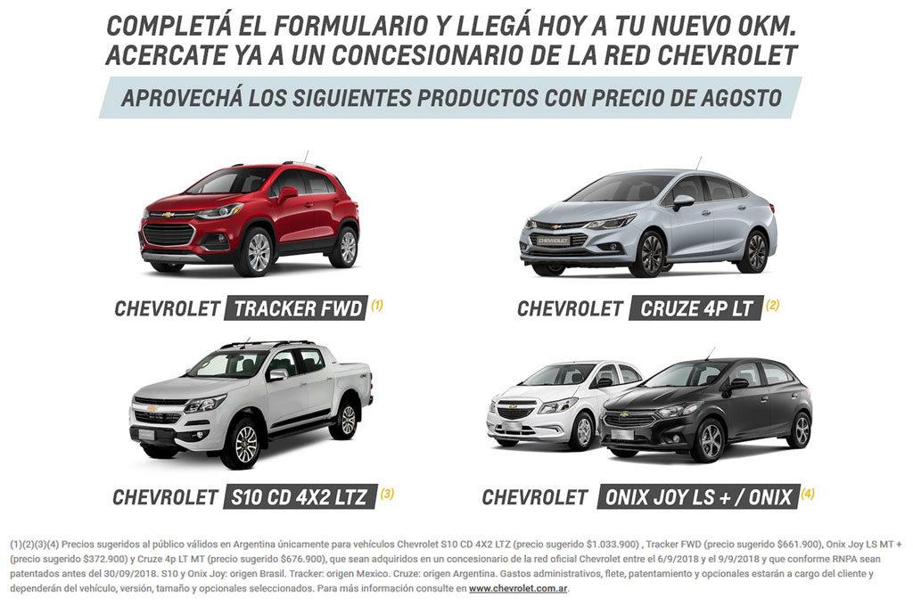 Chevrolet descuentos sep 2018