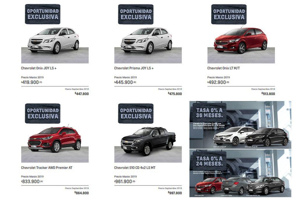 Chevrolet precios 2018